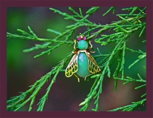 Aqua opal jeweled bug hangs from a branch of an evergreen tree.