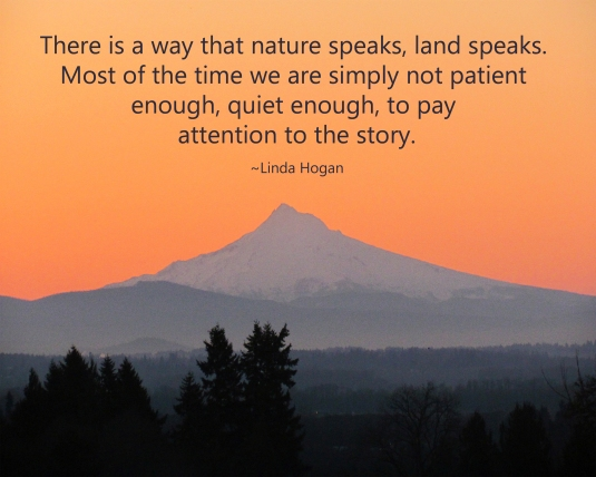 Nature quote and photograph of Mt. Hood early morning sunrise.
