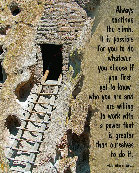 Native American ladder and a quote about reaching your goals.