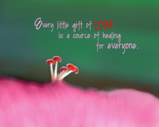 Mindfulness quote - Every little gift of love is a source of healing for everyone.