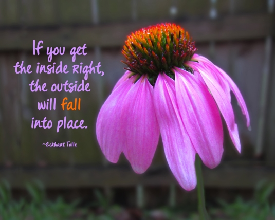 Eckart Tolle quote;if you get the inside right, the outside will fall into place.