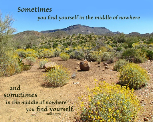 Simetimes you find yourself in the middle of nowhere and sometimes in the middle of nowhere you find yourself.
