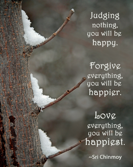 Mindfulness quote about happiness, judgment, forgiveness, and love.