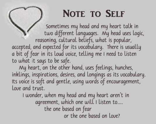 Note to self about choosing to listen to the head or the heart.