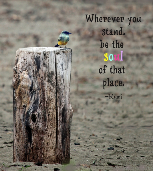Rumi quote: wherever you stand, be the soul of that place.