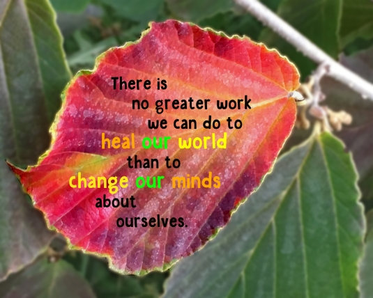 An inspirational quote about changing our minds about ourselves to heal the world.