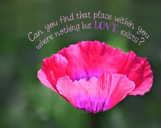 An inspirational saying about finding the place of love within.