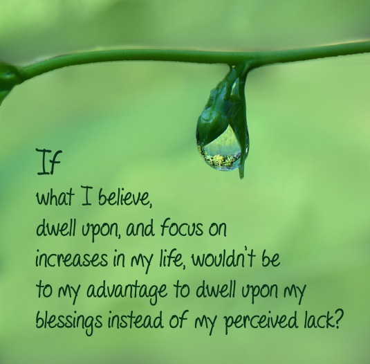 An inspirational quote about focusing on our blessings instead of on our perceived lack.