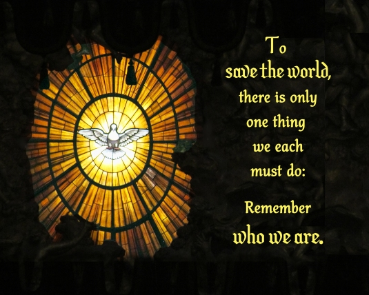 An inspirational quote about how to save the world.