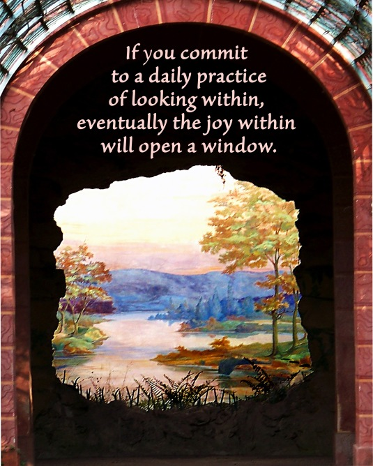 An inspirational quote about looking within for joy.