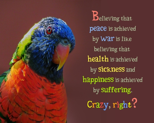 An inspirational message about trying to achieve peace by war.