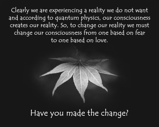 An inspirational quote about consciousness and reality.