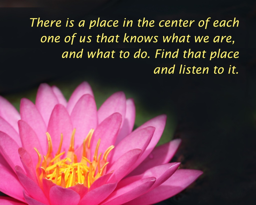An inspiration quote about finding the center within that knows who we are and what we are to do.